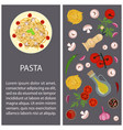 pasta with ingredients vector image vector image