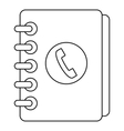phone book with handset icon outline style vector image vector image