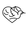 pigeon with branch heart love human rights day vector image vector image