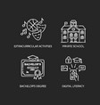 public school education chalk white icons set vector image