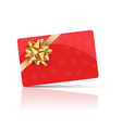 red gift card with gold bow and ribbon vector image vector image