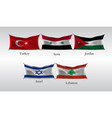 set flags of countries in asia waving flag of vector image vector image