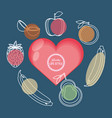 set fruits healthy food vector image