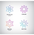 set of logos social relationship meeting vector image vector image
