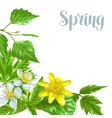 Spring green leaves and flowers Background with vector image