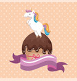 sweet and delicious cupcake with unicorn vector image vector image