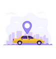 taxi car with location symbol and city background vector image vector image