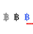 thailand baht icon 3 types color black and vector image vector image