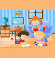 three kids reading in living room vector image vector image