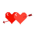 two pixel hearts with an arrow on a white vector image vector image