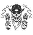 vintage cowboy skull in neck bandana vector image vector image