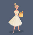 young woman in evening dress holding a gift in vector image vector image