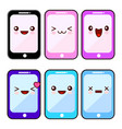 happy smartphone cartoon character kawaii set vector image