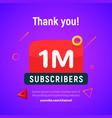 1 million followers post 1m celebration vector image vector image