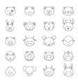 Animals Icons Line Set vector image vector image