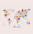 animals on world map flat vector image