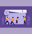 business people running in office vector image