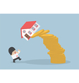Businessman and falling house and coins vector image vector image