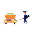 car and mechanic with giant screwdriver vector image