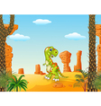Cartoon Happy dinosaur with the desert background vector image vector image