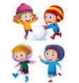 children playing with snow in winter vector image vector image