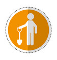 construction worker with shovel avatar vector image vector image
