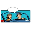 Couple man and woman in convertible car vector image
