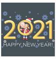 cute calf 2021 bull symbol new year happy vector image vector image