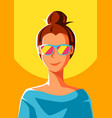 cute girl in sunglasses vector image vector image
