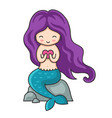 cute little mermaid with purple hair with heart in vector image vector image