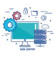 data center pc network server communication vector image vector image