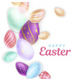 decorated eggs near happy easter writing vector image vector image