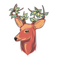 deer head with leaves vector image vector image