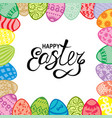 easter card with greeting text and decorative eggs vector image