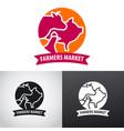 farm animals market logo vector image vector image