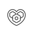flower heart line outline icon vector image vector image