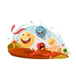 Funny emotional smileys in race vector image