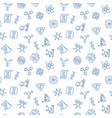 genetics blue seamless pattern in thin line vector image