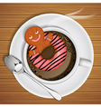 gingerbread with doughnut in cup of hot chocolate vector image