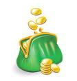 gold coins fall into a green purse vector image vector image