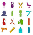 hairdressing icons doodle set vector image vector image