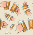 hands holding beer mugs seamless pattern vector image vector image