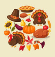 happy thanksgiving day greeting card with objects vector image