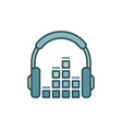 headphone with sound equalizer icon or vector image