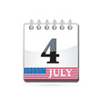 independence day calendar vector image