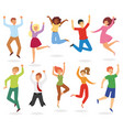jumping people happy woman or man character vector image vector image