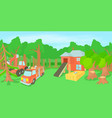 logging horizontal banner cartoon style vector image