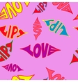 Love lips lettering seamless pattern vector image