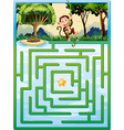 Maze puzzle with monkey in the jungle vector image vector image
