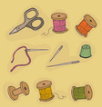 objects sewing threads thimble scissors vector image